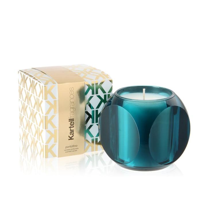Duftkerze Dice von Kartell in Blau mit dem Duft Portofino