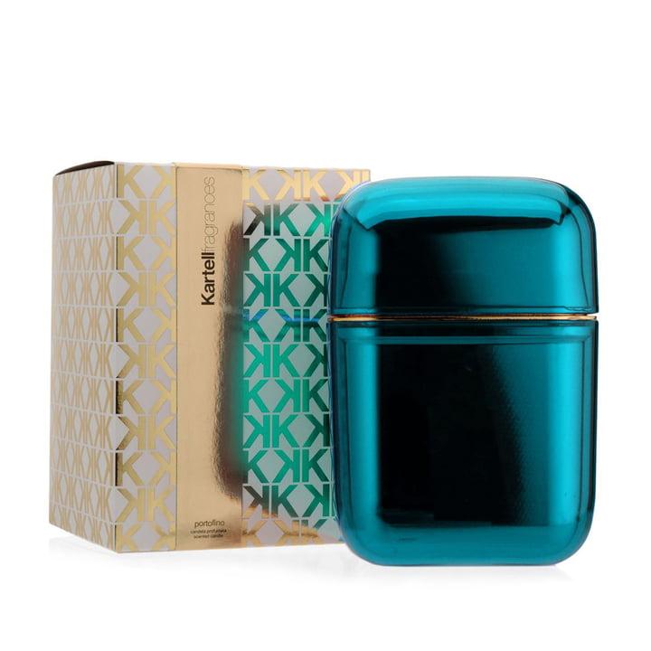 Duftkerze Oyster von Kartell in Blau mit dem Duft Portofino