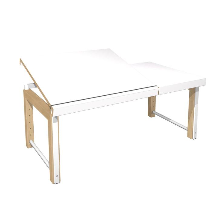 Ziggy Schreibtisch, geteilte Platte von De Breuyn in Weiß