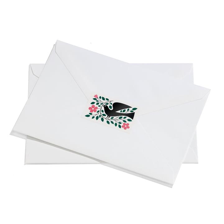 Sticker Dove von Vitra in Grün und Pink auf Brief
