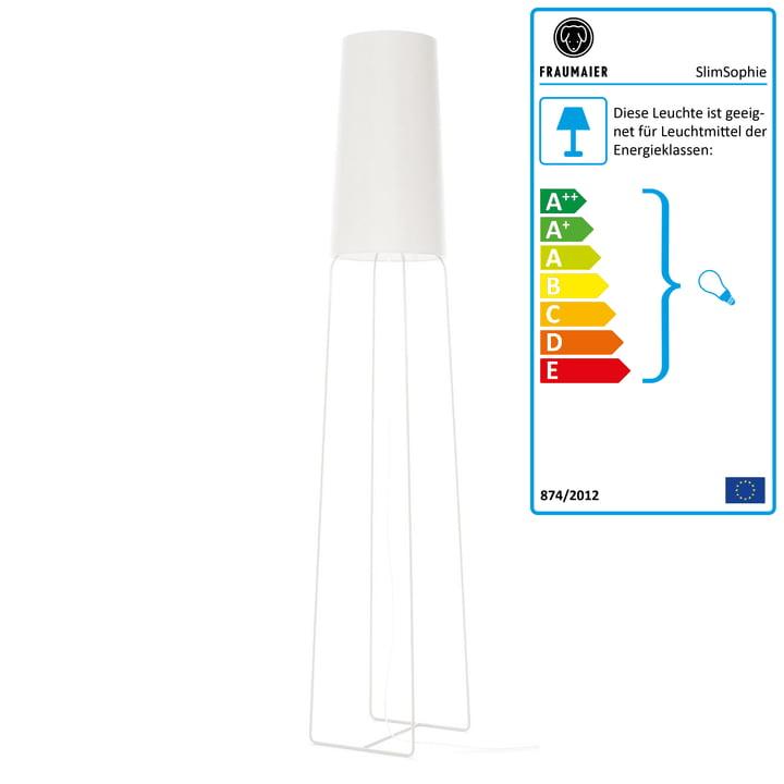 Slimsophie Stehleuchte mit LED-Dimmer von frauMaier in weiß