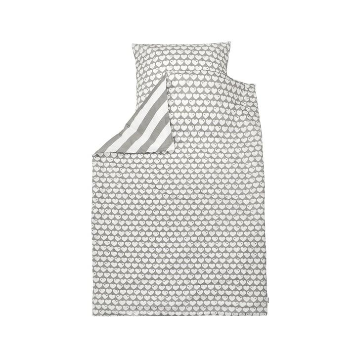 Wende-Bettwäsche Herzen 135 x 100 cm von byGraziela in Grau