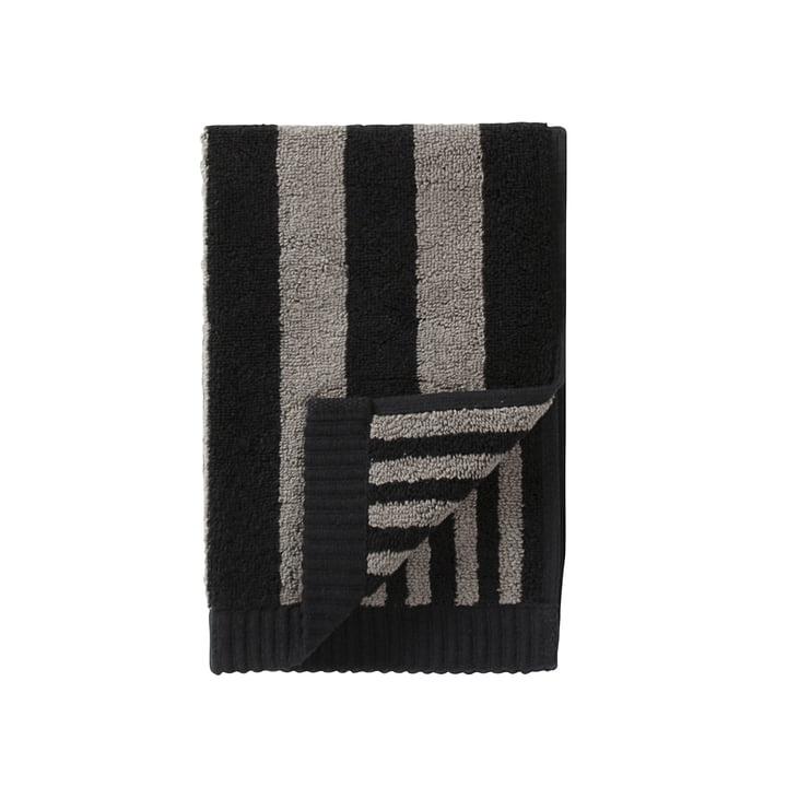 Marimekko - Kaksi Raitaa Gästehandtuch 30 x 50 cm, grau / schwarz