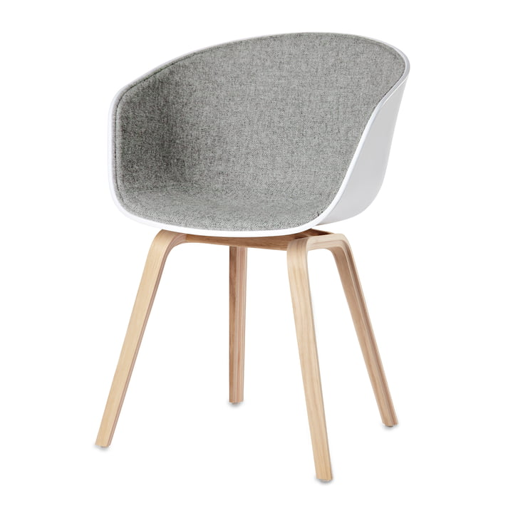 About A Chair AAC 22, Holz-Vierbeingestell von Hay in Eiche geseift, Weiß und Hellgrau (Remix 123)