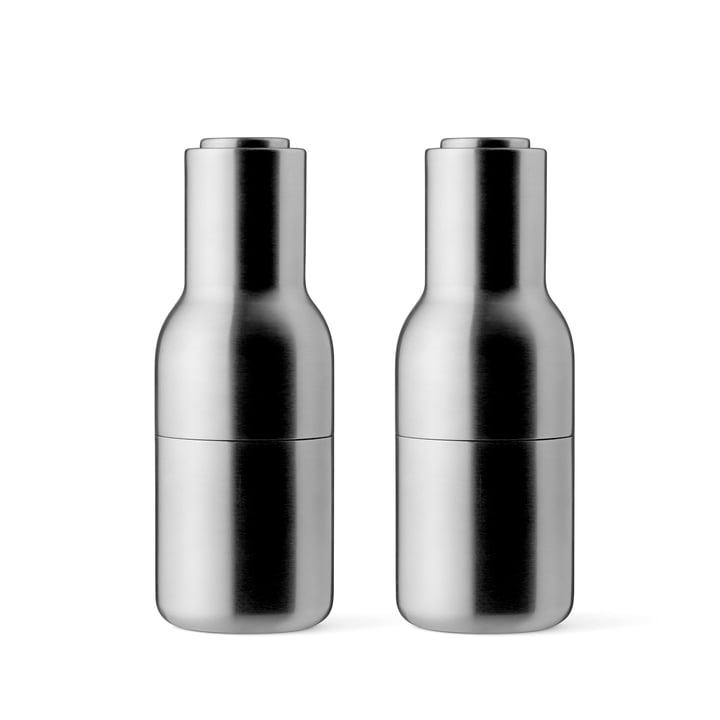Menu - Bottle Salz- und Pfeffermühlen Set Edelstahl, gebürstet