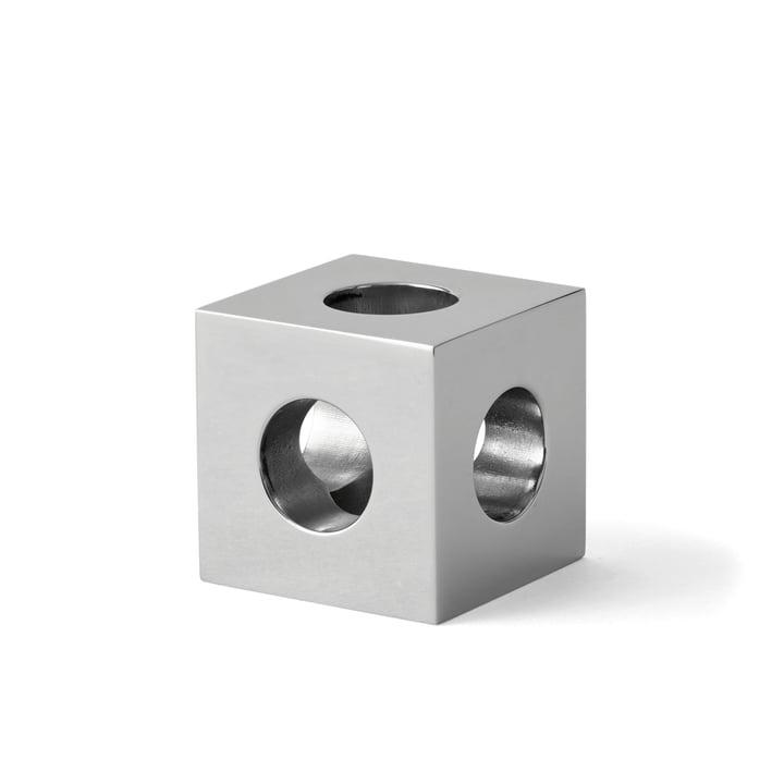 Der Cube Kerzenhalter von Menu in Stahl spiegelpoliert