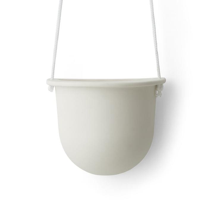 Der Hanging Vessel hängender Keramikblumentopf von Menu in weiß.