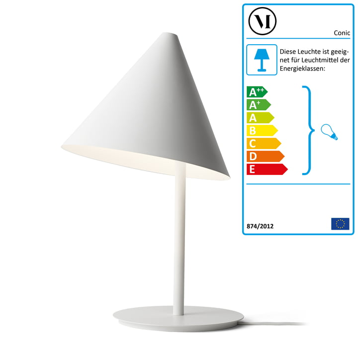 Die Conic Tablelamp Tischleuchte von Menu in weiß