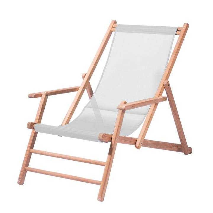 Deckchair Teakholz von Jan Kurtz in Weiß