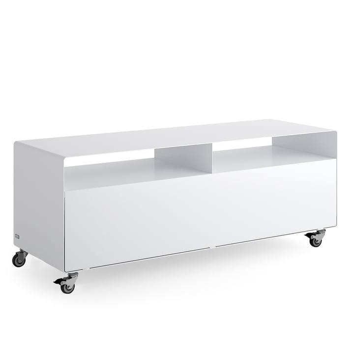 R 109N Sideboard mit Klapptür auf Rollen von Müller Möbelfabrikation in signalweiß seidenmatt (RAL 9003)
