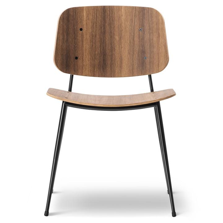 Søborg Stuhl von Fredericia aus geräucherter Eiche und Chrom
