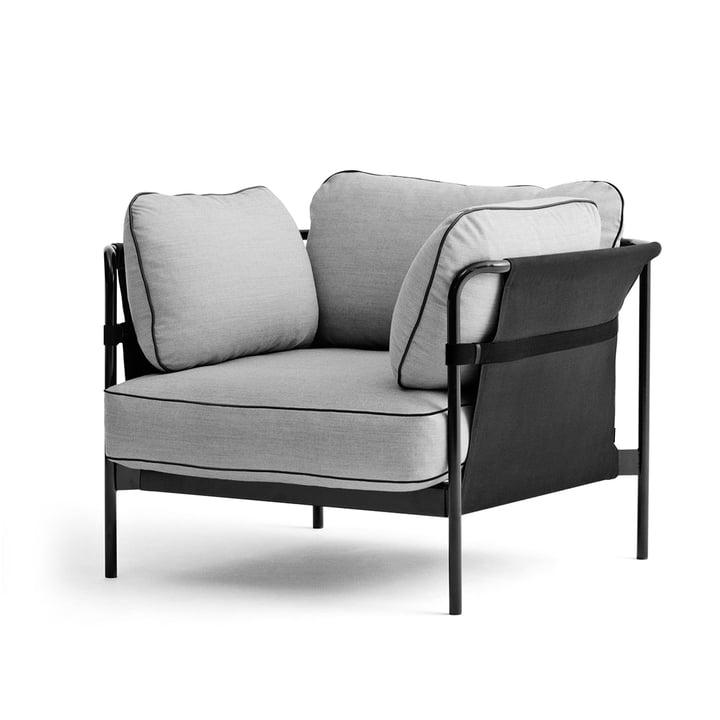 Hay - Can Sessel, schwarz / Canvas grau / Surface 120 hellgrau