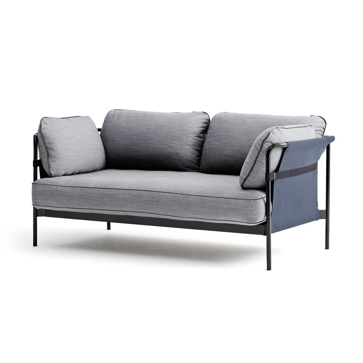 Hay - Can Sofa, 2-Sitzer, schwarz / Canvas blau / Surface 120 hellgrau