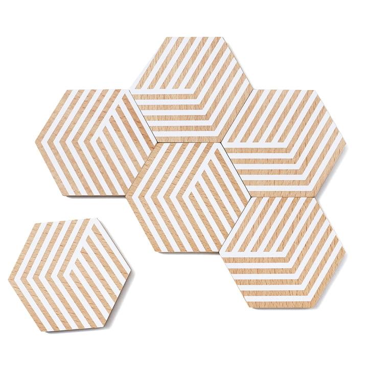 6er-Set Table Tiles Optic Untersetzer von Areaware in Weiß