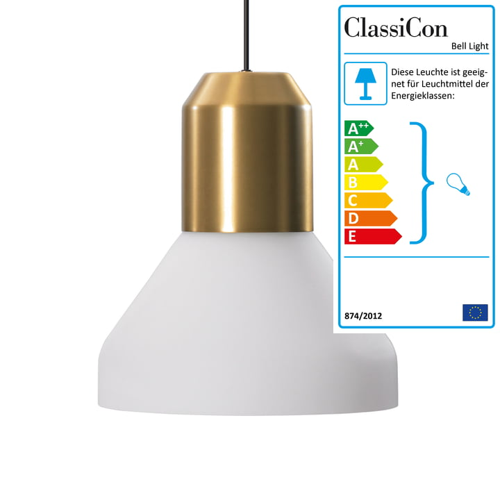 ClassiCon - Bell Light Pendelleuchte, Messing / Opalglas