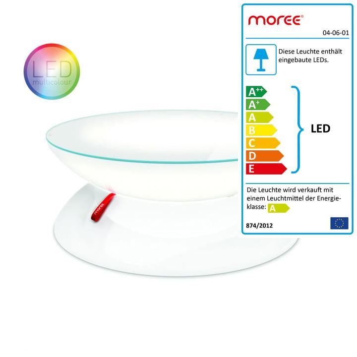Moree - Lounge Tisch LED PRO Akku, transluzent-weiß