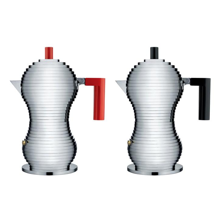 Pulcina Espressokocher in Mittel von Alessi in Schwarz und Rot