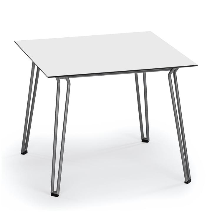 Slope Tisch 90 x 90 cm von Weishäupl aus Edelstahl in HPL Weiß