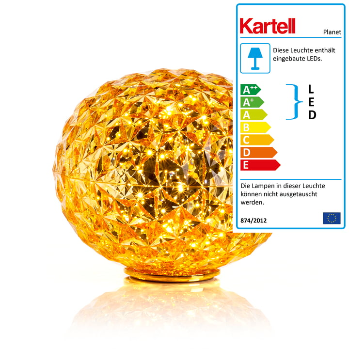 Planet LED Tischleuchte mit Sockel von Kartell in Gelb