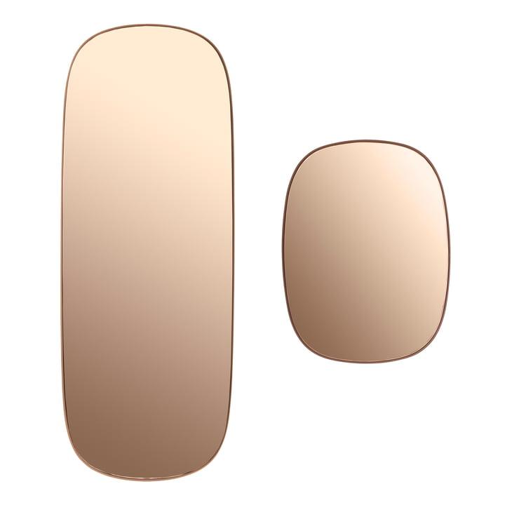 Der Framed Mirror in groß und klein in der Farbe rosa Glas