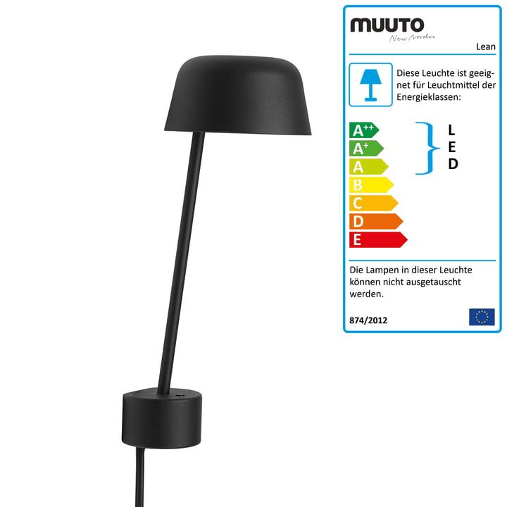 Die Lean Wandleuchte LED von Muuto in schwarz