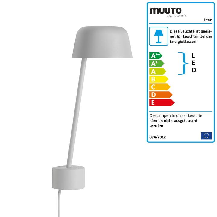 Die Lean Wandleuchte LED von Muuto in grau