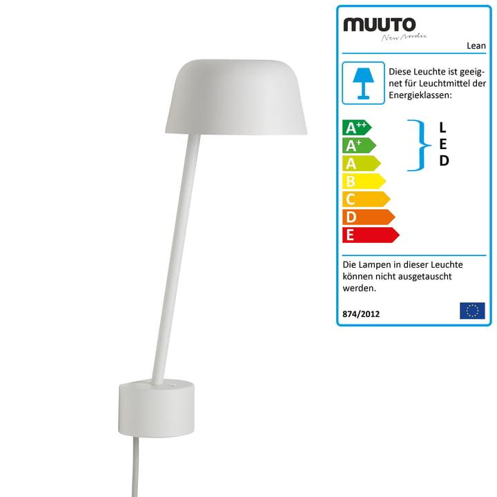 Die Lean Wandleuchte LED von Muuto in weiß