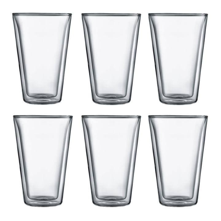 Bodum - Canteen Glas, doppelwandig, 0,4 l, transparent (6er-Set)