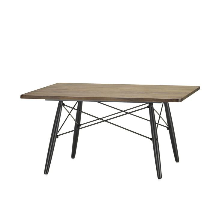 Der Eames Coffee Table square in Amerikanischer Nussbaum und Untergestell in Esche schwarz von Vitra