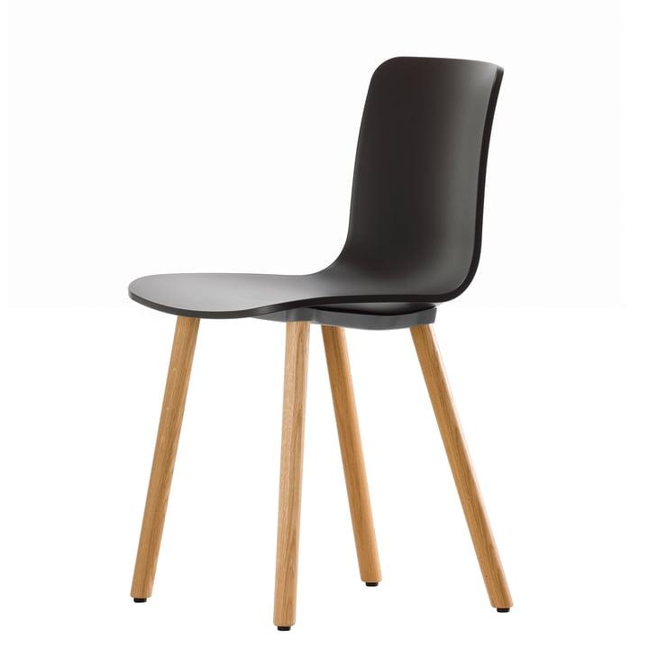 Hal Wood Stuhl von Vitra basic dark / Eiche natur, Filzgleiter