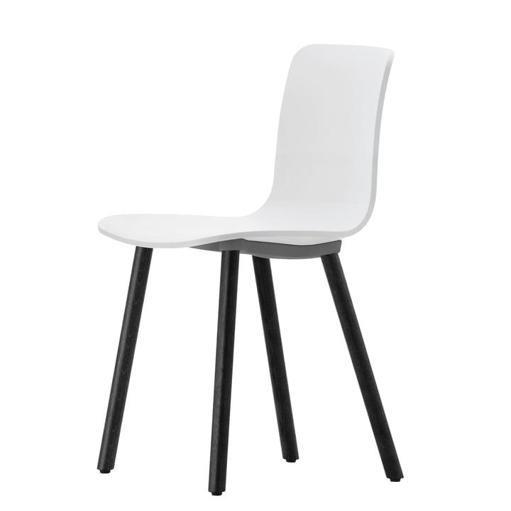 Hal Wood Stuhl von Vitra in Weiß / Eiche dunkel, Filzgleiter für Hartböden