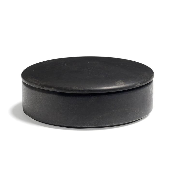 Hay - Lens Box mit Deckel S, stapelbar, Ø 14 cm, schwarz, Marmor