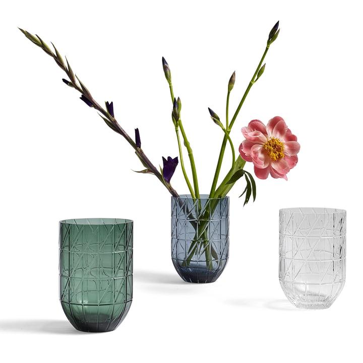 Die Hay - Colour Vase Glasvase in L, transparent, blau und grün