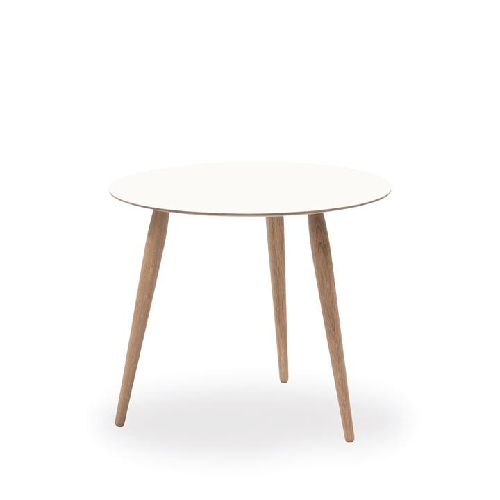 Play Round Laminate Beistelltisch Ø 45 cm von bruunmunch in Crystal White / Eiche geseift