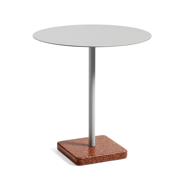Hay - Terrazzo Tisch rund Ø 75 cm, hellgrau / rot