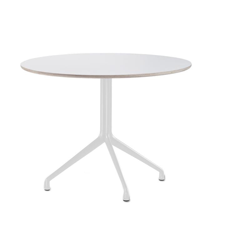 Hay - About A Table AAT 20 Esstisch, 3-beinig, Ø110 x H73 cm, weiß/weiß (Kunststoffgleiter)