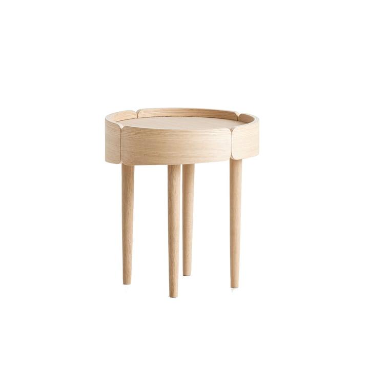 Skirt Coffee Table Ø 40 cm von Woud in Eiche weiß pigmentiert lackiert