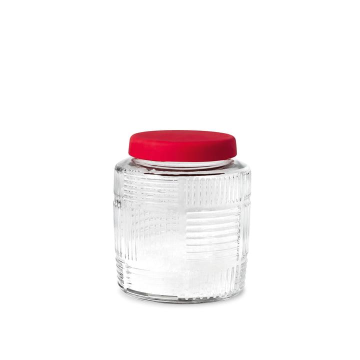 Nanna Ditzel Aufbewahrungsglas 0,9 l von Rosendahl mit rotem Deckel
