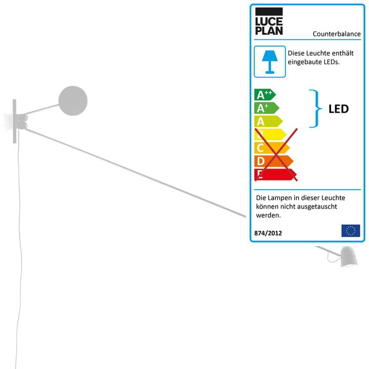 Counterbalance Wandleuchte von Luceplan in Weiß
