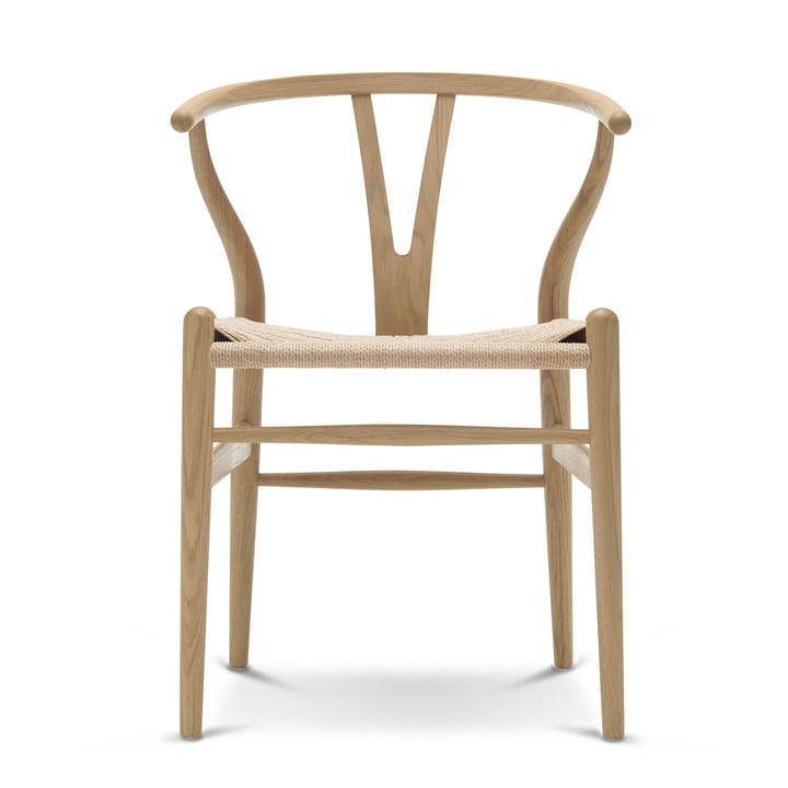 CH24 Wishbone Chair von Carl Hansen in Eiche geseift / Naturgeflecht