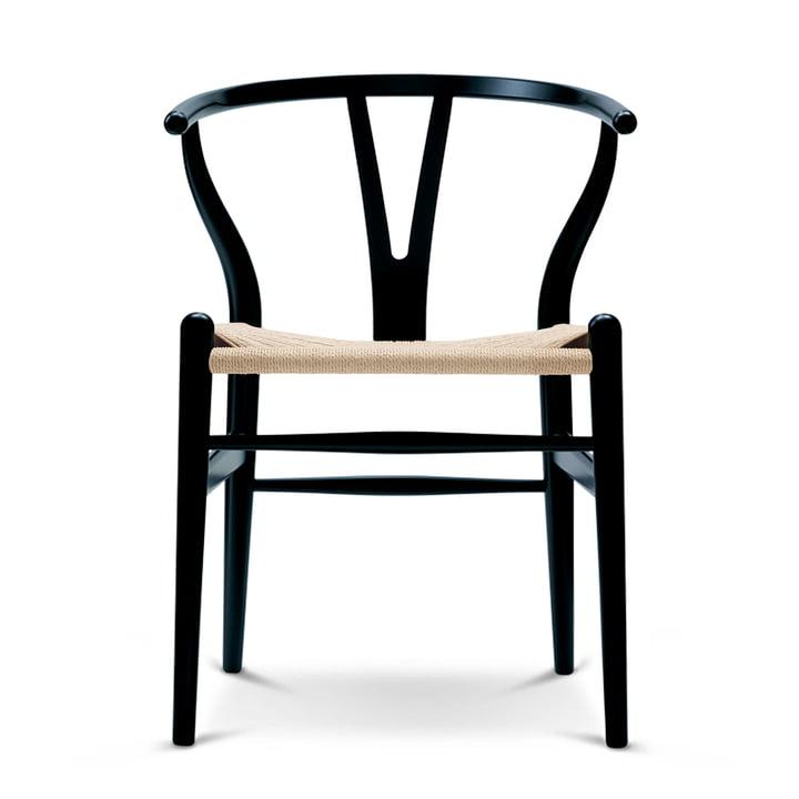 CH24 Wishbone Chair von Carl Hansen in Buche schwarz / Naturgeflecht