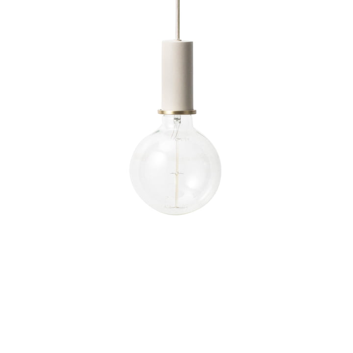 ferm Living - Socket Pendelleuchte Low, hellgrau