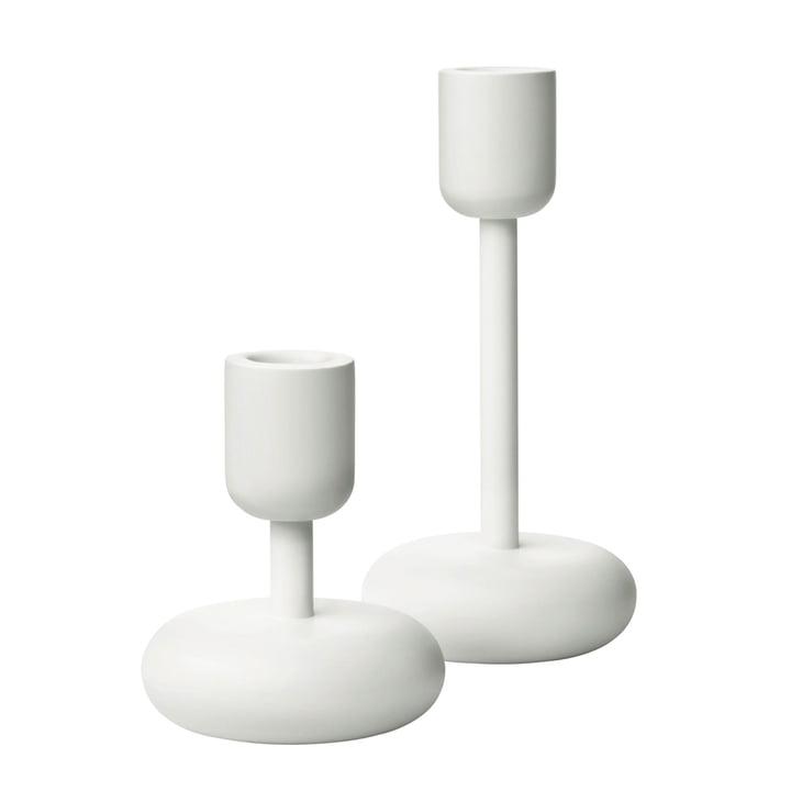 Iittala - Nappula Kerzenständer, 2er-Set, 107+183 mm, weiß