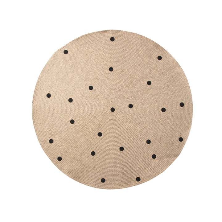 Black Dots Jute Carpet Ø 100 cm von ferm Living