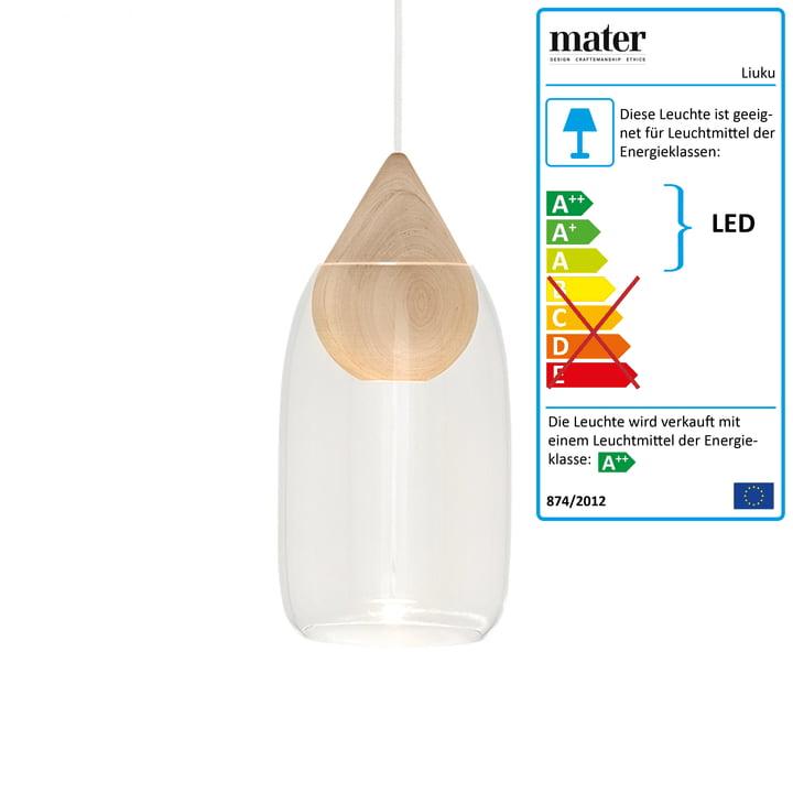 Liuku Pendelleuchte Drop von Mater in Erle / transparent