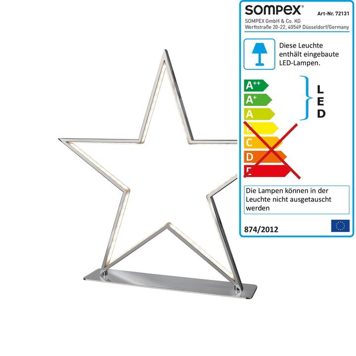 Lucy LED Tischleuchte 33 cm von Sompex in Chrom