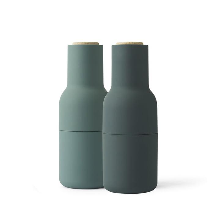 Bottle Salz- und Pfeffermühlen Set von Menu in Dunkelgrün (Holzdeckel)