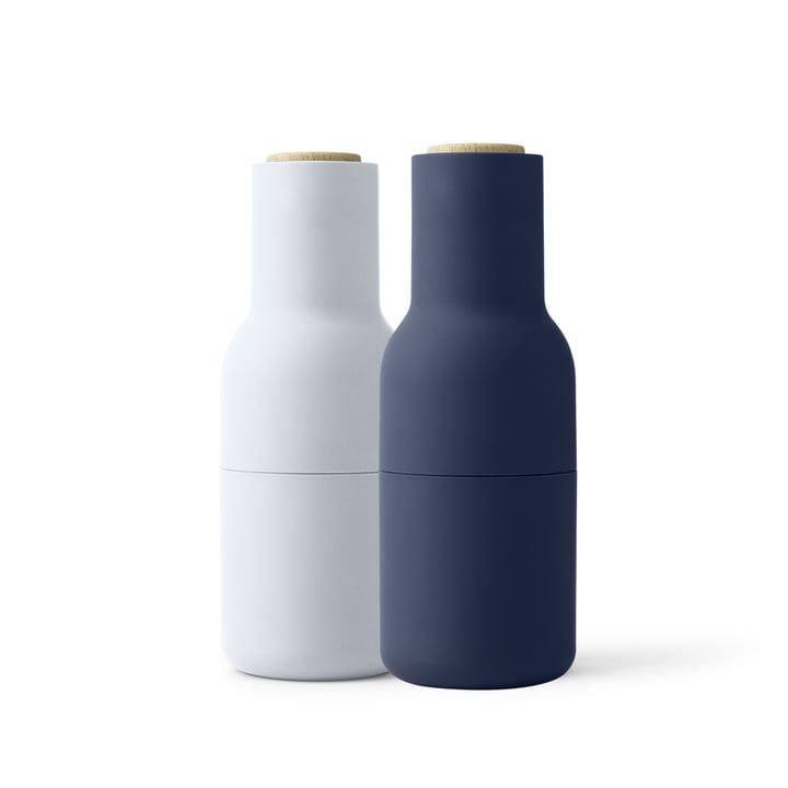 Bottle Salz- und Pfeffermühlen Set von Menu in Classic Blue (Holzdeckel)