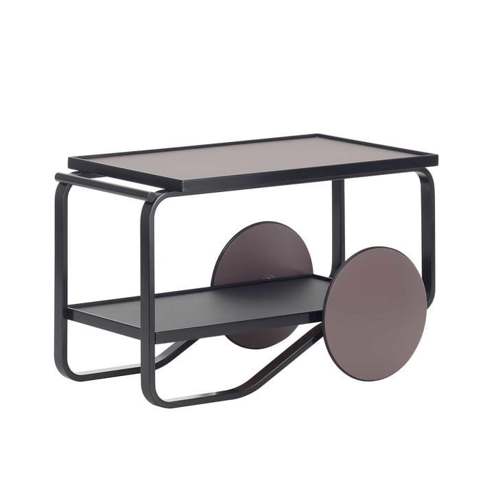 Tea Trolley von Artek in Birke Schwarz und Linoleum Torf- und Kohlefarben