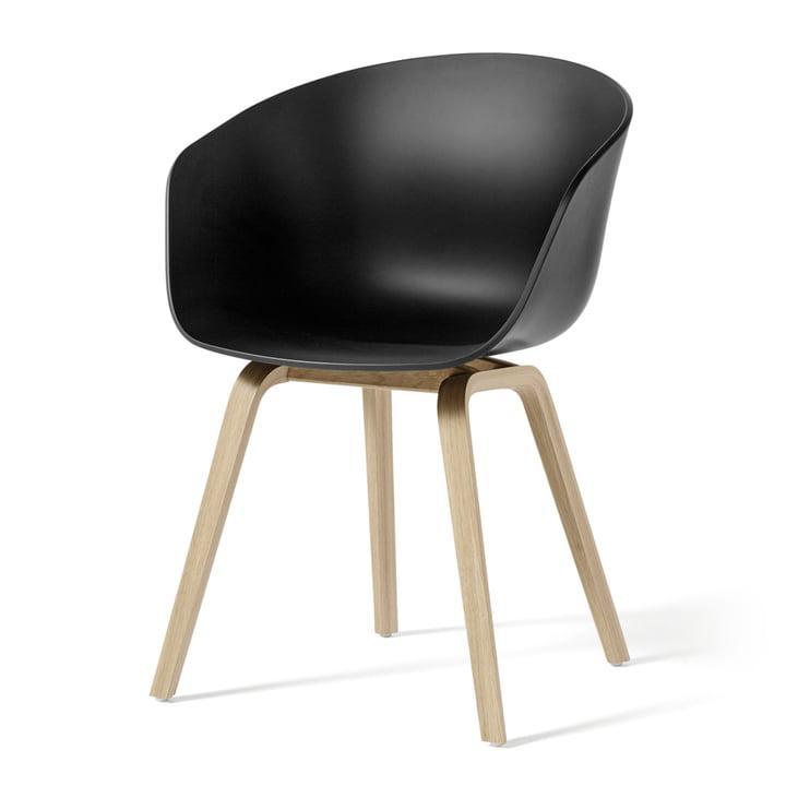 Hay - About A Chair AAC 22 Holz-Vierbeingestell, Eiche matt lackiert / schwarz